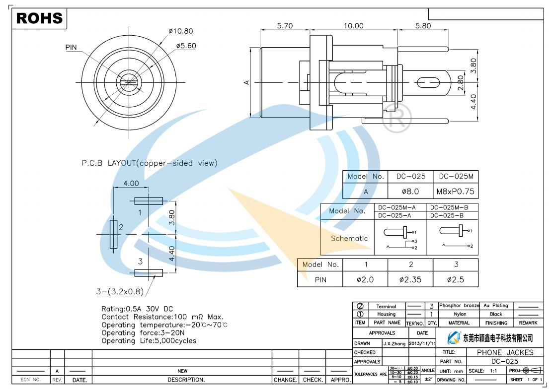 DC-025规格书下载